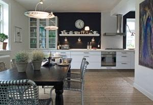 Køkken i sort og hvid