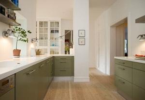 Køkken med olivengrøn front
